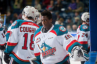KELOWNA, CANADA - JANUARY 3: Michael Herringer #30 of Kelowna Rockets skates to the dressing room against the Prince George Cougars on January 3, 2015 at Prospera Place in Kelowna, British Columbia, Canada.  (Photo by Marissa Baecker/Shoot the Breeze)  *** Local Caption *** Michael Herringer;