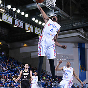 Delaware 87ers Guard Jordan McRae (4) drives towards the basket for the dunk  in the first half of a NBA D-league regular season basketball game between the Delaware 87ers and the Erie BayHawk (Orlando Magic) Friday, Mar. 27, 2015 at The Bob Carpenter Sports Convocation Center in Newark, DEL.