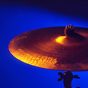 Cymbal with blue background.