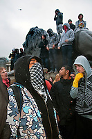 Students demonstrate against Education cuts and tuition increases in London snow storm 30th November 2010