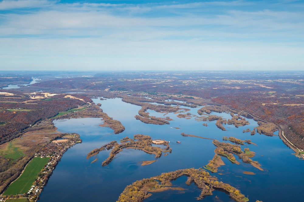 Aerial photograph of the Upper Mississippi River Wildlife Refuge north of Guttenberg, Iowa with Bagley, Wisconsin in the background