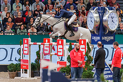 GUERDAT Steve (SUI), Mighty Mouse<br /> Leipzig - Partner Pferd 2020<br /> Siegerehrung<br /> Longines FEI Jumping World Cup™ presented by Sparkasse<br /> Sparkassen Cup - Großer Preis von Leipzig FEI Jumping World Cup™ Wertungsprüfung <br /> Springprüfung mit Stechen, international<br /> Höhe: 1.55 m<br /> 19. Januar 2020<br /> © www.sportfotos-lafrentz.de/Stefan Lafrentz