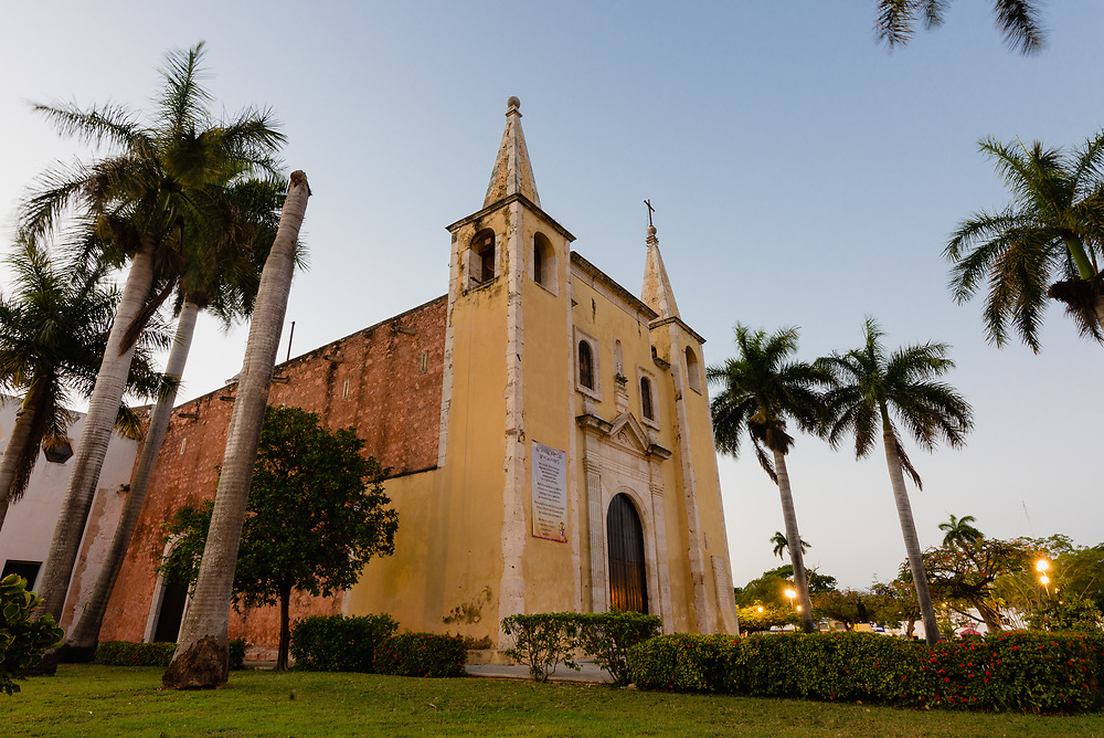 Facade of Sata Ana Church at dawn in Merida, Mexico