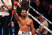 David Haye lifts his arm and salutes the crowd at the O2 Arena, London, United Kingdom on 5 May 2018. Picture by Phil Duncan.