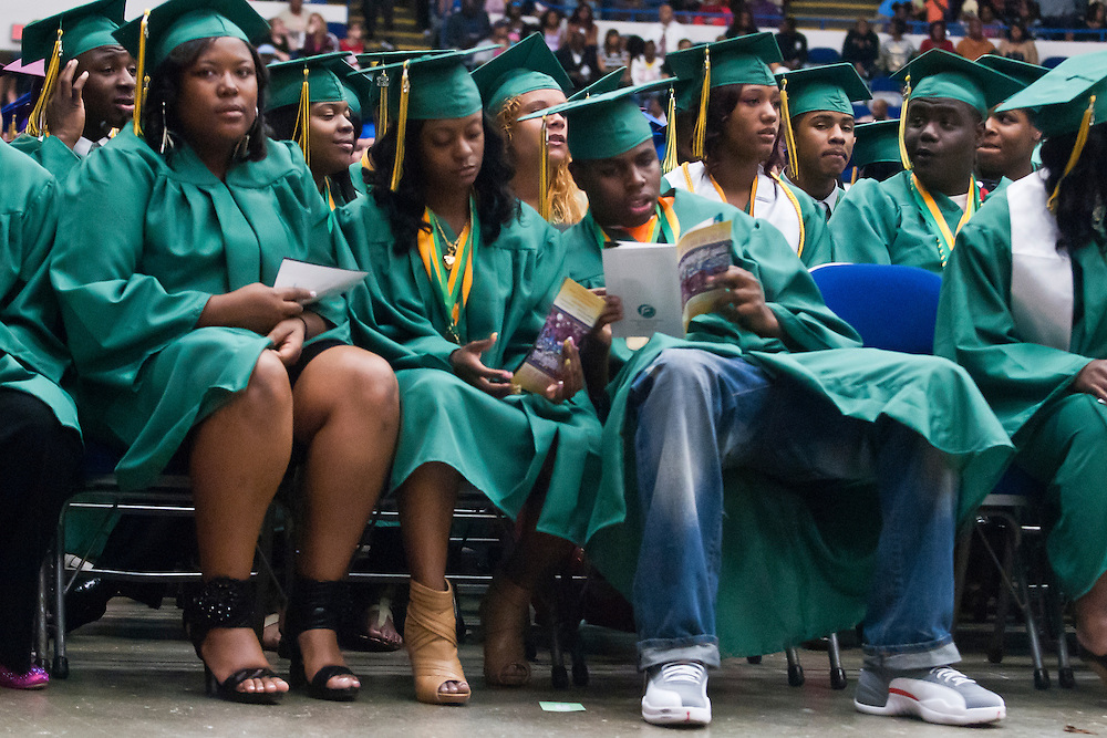 Lathan Goumas | MLive.com..Northwestern High School students listen during the 2012 Flint Community Schools commencement ceremony at the Perani Arena in Flint, Mich. on Tuesday June 5, 2012.