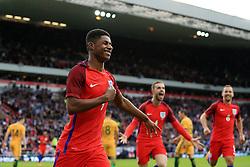 Marcus Rashford of England celebrates after scoring his sides first goal  - Mandatory by-line: Matt McNulty/JMP - 27/05/2016 - FOOTBALL - Stadium of Light - Sunderland, United Kingdom - England v Australia - International Friendly