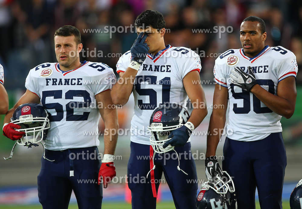04.06.2014, UPC Arena, Graz, AUT, American Football Europameisterschaft 2014, Gruppe B, Frankreich (FRA) vs Oesterreich (AUT), im Bild Baptiste  Noir , (Team France, LB , #52),  Anthony  Cheron , (Team France, DL , #51) und  Valentin  Gnahoua , (Team France, DL , #90) // during the American Football European Championship 2014 group B game between France vs Austria at the UPC Arena, Graz, Austria on 2014/06/04. EXPA Pictures © 2014, PhotoCredit: EXPA/ Thomas Haumer