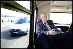 London Mayor Boris Johnson, on the campaign bus during the Mayoral Campaign, London, UK, April 13, 2012. Photo By Andrew Parsons / i-Images.