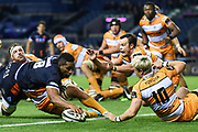 Viliame Mata scores second half try during the Guinness Pro 14 2018_19 match between Edinburgh Rugby and Toyota Cheetahs at BT Murrayfield Stadium, Edinburgh, Scotland on 5 October 2018.