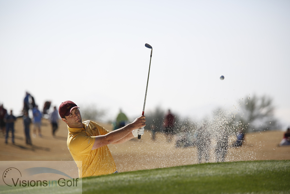 Jon Rahm playing as a 21 year old amateur from Arizona State University <br /> Day 4<br /> WM Phoenix Open 2015, TPC Scottsdale, Arizona, USA<br /> <br /> Golf Pictures Credit by: Mark Newcombe / visionsingolf.com