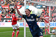 Goal - Luke Ayling (2)  of Leeds United celebrates the goal scored by Patrick Bamford (9) of Leeds United to give a 0-1 lead to the away team during the EFL Sky Bet Championship match between Bristol City and Leeds United at Ashton Gate, Bristol, England on 9 March 2019.