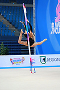 Russo Alessia during qualifying at ribbon in the Pesaro World Cup April 11,2015. Alessia is an Italian individual rhythmic gymnast, she was born on September 24 1996 in Figline Valdarno, Italy.