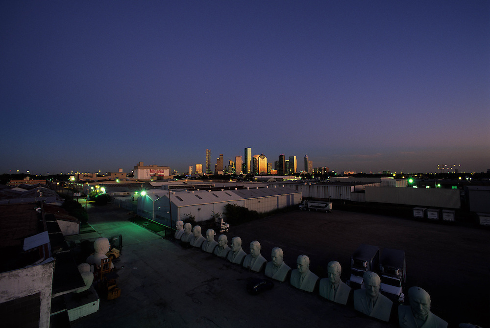 Houston, Texas skyline from an artist's loft in early evening.