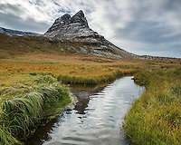 Mount Hafnarhyrna reflects in a small pond. West fiords of Iceland.