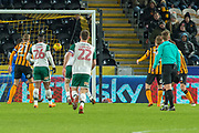 Oliver McBurnie of Barnsley scores a goal to take the lead 0-1 during the EFL Sky Bet Championship match between Hull City and Barnsley at the KCOM Stadium, Kingston upon Hull, England on 27 February 2018. Picture by Craig Zadoroznyj.