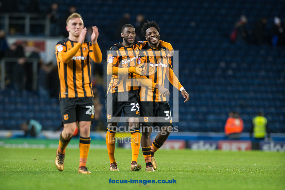 Fikayo Tomori (centre) and Ola Aina of Hull City celebrate as Jarrod Bowen applauds fans following the FA Cup match at Ewood Park, Blackburn<br /> Picture by Matt Wilkinson/Focus Images Ltd 07814 960751<br /> 06/01/2018