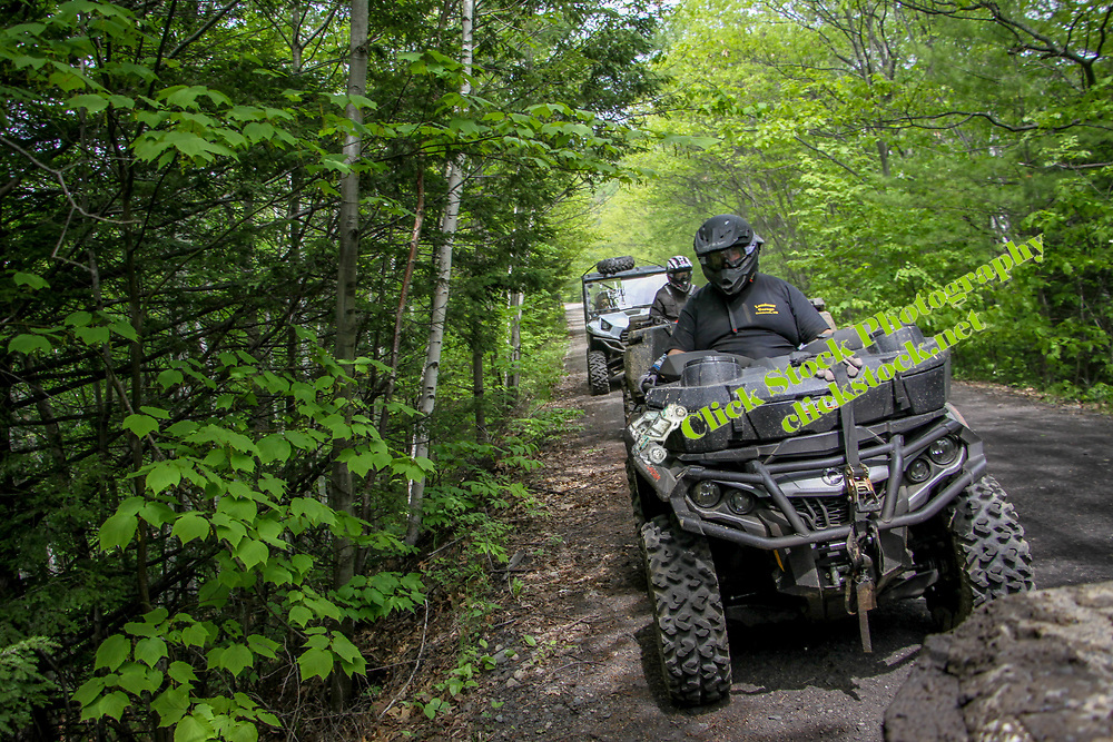 Can Am, Polaris & Kawasaki on a trail in NH, New Hampshire, NH, New England, Can Am, Polaris, Kawasaki, atv, utv, sxs, ohrv, orv, trail riding, hobby, adventure, sports, therapy, Click Stock Photography