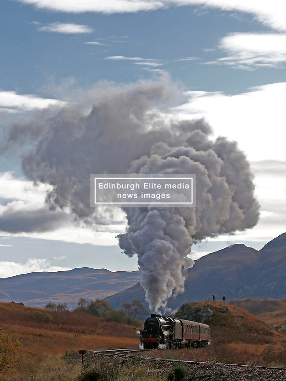 The Jacobite steam train LMS Stanier Class 5 4-6-0 45407 'The Lancashire Fusilier' just after departing Glenfinnan station on route to Mallaig. This journey has been made famous in The Hogwarts Express in the Harry Potter films....... (c) Stephen Lawson   Edinburgh Elite media