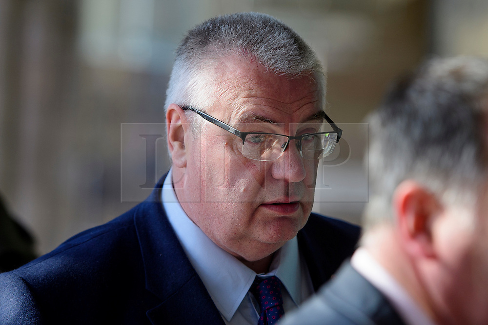 ©  London News Pictures. 28/04/2016. London, UK. ROY RICKHUSS, General Secretary of Community and Chair of the National Trade Union Steel Coordinating Committee arrives at Portcullis House in London to give evidence to the Commons Business Committee on the future of British steel. TATA Steel. The future of Tata Steel has been in doubt since it announced it would sell its loss-making UK business. Photo credit: Ben Cawthra/LNP