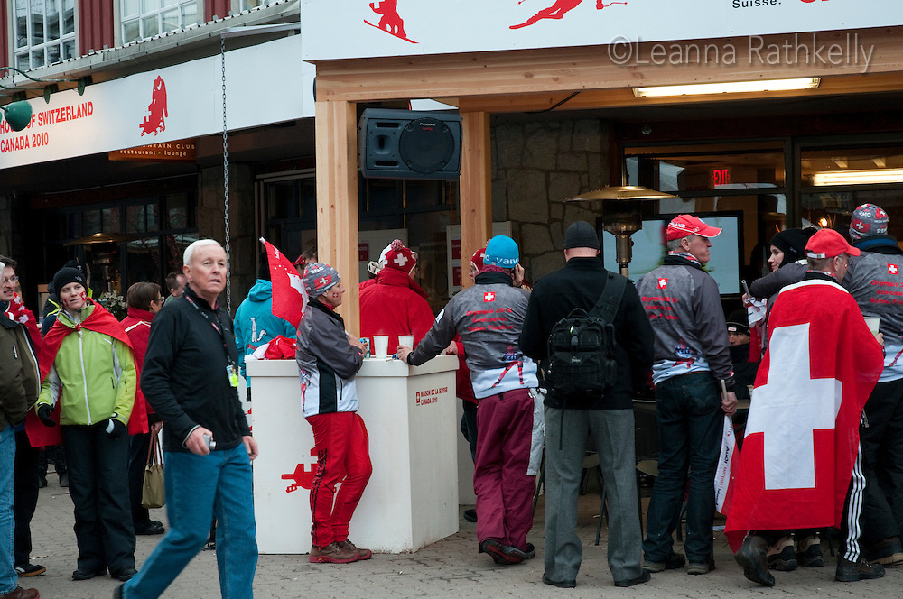 Fans gather outside the House of Switzerland to celebrate gold medal wins during the 2010 Olympic Winter games in Whistler, BC Canada.