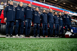 March 26, 2019 - Oslo, NORWAY - 190326 Per Joar Hansen, assistant coach of Norway, Lars Lagerbäck, head coach of Norway, and the rest of Team Norway during the national anthem ahead of the UEFA Euro qualifier football match between Norway and Sweden on March 26, 2019 in Oslo..Photo: Jon Olav Nesvold / BILDBYRÃ…N / kod JE / 160435 (Credit Image: © Jon Olav Nesvold/Bildbyran via ZUMA Press)