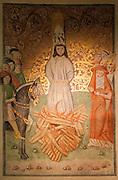 Jan Hus auf dem Scheiterhaufen - Wandmalerei in der Bethlehemskapelle (tschechisch Betlemska kaple) in Prag. 1402 wurde der Magister Jan Hus zum Prediger an der Bethlehemskapelle berufen. Mit seinen mitreißenden Predigten in der Muttersprache der tschechischen Bevölkerung Prags erreichte er die Massen. Bis zu 3000 Menschen sollen seinen Predigten in der Bethlehemskapelle gefolgt sein. Hus, von der Theologie John Wyclifs beeinflusst, kritisierte die Missstände in der Kirche seiner Zeit.