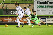Forest Green Rovers Luke James(33) is brought down by Swansea City's Aaron Lewis during the EFL Trophy match between Forest Green Rovers and U21 Swansea City at the New Lawn, Forest Green, United Kingdom on 31 October 2017. Photo by Shane Healey.