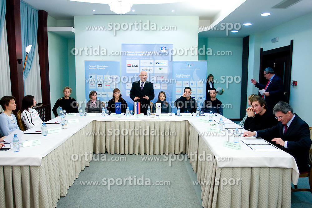 Press conference when winter Slovenian sportsmen have signed a contract with IOC and OKS for 16 months long sponsorship (1500 $ monthly) till Olympic games in Vancouver 2010, on December 22, 2008, Grand hotel Union, Ljubljana, Slovenia. (Photo by Vid Ponikvar / SportIda).