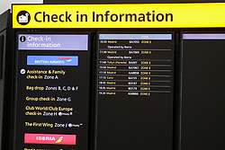 "© Licensed to London News Pictures. 09/09/2019. London, UK. The ""Check On information"" board at Heathrow Terminal 5 departures which is completely empty as tens of thousands of British Airways passengers face disruption on the first day of the two days first-ever strike staged by British Airways pilots dispute over pay. British Airways had requested its passengers that they were unlikely to travel and to make alternative arrangements prior to the strike action. Photo credit: Dinendra Haria/LNP"
