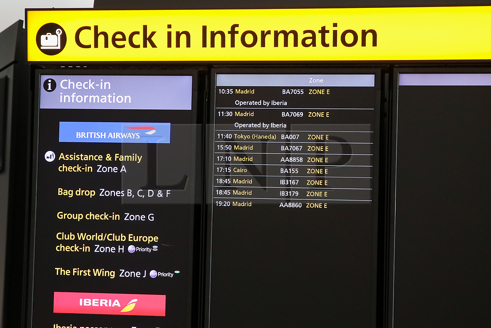 """© Licensed to London News Pictures. 09/09/2019. London, UK. The """"Check On information"""" board at Heathrow Terminal 5 departures which is completely empty as tens of thousands of British Airways passengers face disruption on the first day of the two days first-ever strike staged by British Airways pilots dispute over pay. British Airways had requested its passengers that they were unlikely to travel and to make alternative arrangements prior to the strike action. Photo credit: Dinendra Haria/LNP"""