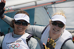 10.08.2012, Bucht von Weymouth, GBR, Olympia 2012, Segeln, im Bild Belcher Friederike, Kadelbach Kathrin, (GER, 470 Women) // during Sailing, at the 2012 Summer Olympics at Bay of Weymouth, United Kingdom on 2012/08/10. EXPA Pictures © 2012, PhotoCredit: EXPA/ Juerg Kaufmann ***** ATTENTION for AUT, CRO, GER, FIN, NOR, NED, .POL, SLO and SWE ONLY!