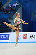 Tikkanen Jouki  during qualifying at ribbon in Pesaro World Cup 02 April 2016. Jouki was born 5 July, 1995. She is a Finnish individual rhythmic gymnast.