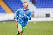 Forest Green Rovers Marcus Kelly(10) warming up during the FA Trophy 2nd round match between Chester FC and Forest Green Rovers at the Deva Stadium, Chester, United Kingdom on 14 January 2017. Photo by Shane Healey.