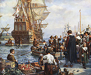 The Pilgrim Fathers boarding the 'Mayflower' for their voyage to America.  After painting by Bernard Gribble.