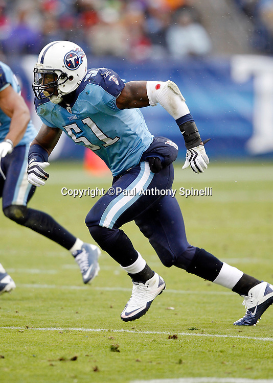 Tennessee Titans linebacker Gerald McRath (51) chases the action during the NFL week 13 football game against the Jacksonville Jaguars on Sunday, December 5, 2010 in Nashville, Tennessee. The Jaguars won the game 17-6. (©Paul Anthony Spinelli)