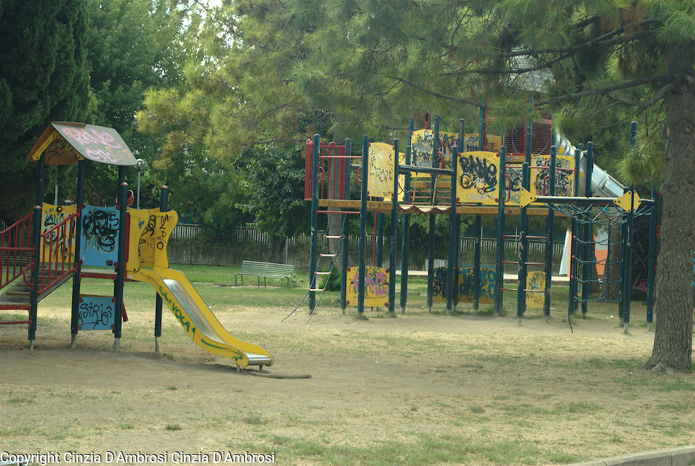 Playgrounds show signs of complete neglect.