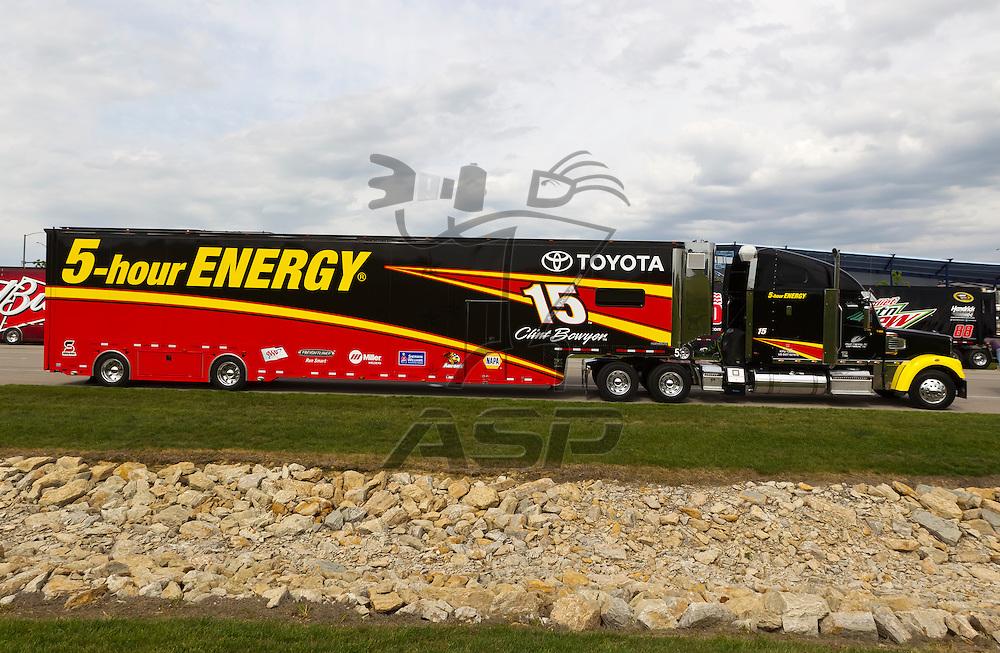 KANSAS CITY, KS - APR 19, 2012:  The 5-hour Energy hauler waits to park  for the STP 400 at the Kansas Speedway in Kansas City, KS.