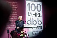 29 NOV 2018, BERLIN/GERMANY:<br /> Frank-Walter Steinmeier, Bundespraesident, haelt eine Rede, Festakt mit Bundespraesident Steinmeier anl. des 100. Gruendungsjubilaeums des Beamtenbunds, dbb forum berlin<br /> IMAGE: 20181129-01-119<br /> KEYWORDS;&acute;: Gr&uuml;ndung, Jubil&auml;um,