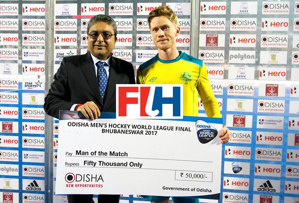 Odisha Men's Hockey World League Final Bhubaneswar 2017<br /> Match id:02<br /> Australia v India<br /> Foto: Youth playwer off the match Matt DAWSON WORLDSPORTPICS COPYRIGHT FRANK UIJLENBROEK