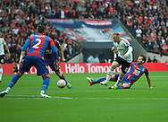 Wayne Rooney of Manchester United is tackled by Yohan Cabaye of Crystal Palace during the FA Cup Final at Wembley Stadium, London<br /> Picture by Alan Stanford/Focus Images Ltd +44 7915 056117<br /> 21/05/2016