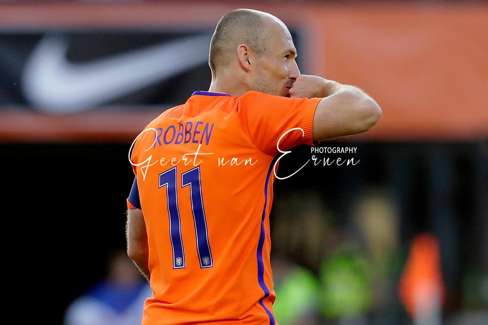 04-06-2017 VOETBAL:NEDERLAND-IVOORKUST:ROTTERDAM<br /> Oranje oefende tegen Ivoorkust vanavond in De Kuip<br /> <br /> Arjen Robben van Oranje (Bayern Munchen) viert zijn treffer <br /> Foto: Geert van Erven