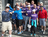 "The cast and crew who after walking 108 miles from Donegal to Galway for Ronnie Whelan's ""Myaware.ie Annual Walk"" in aid of Myasthenia, arrived to Hotel Meyrick in Galway city centre where Love/Hate's Elmo Laurence Kinlan and Danny O'Carroll who drenched Paul Brennan with an ice bucket  . Photo:Andrew Downes"