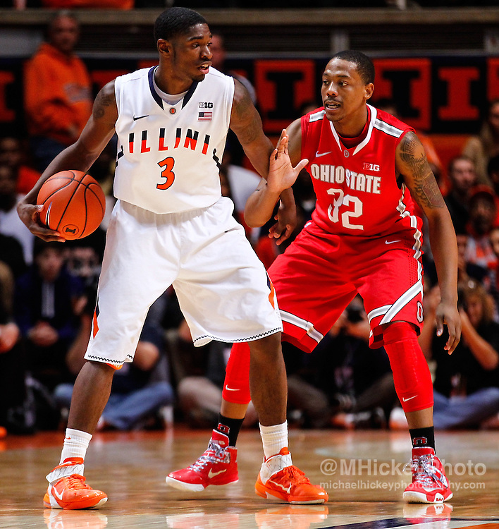 CHAMPAIGN, IL - JANUARY 05: Brandon Paul #3 of the Illinois Fighting Illini dribbles the ball against Lenzelle Smith, Jr. #32 of the Ohio State Buckeyes at Assembly Hall on January 5, 2013 in Champaign, Illinois. Ilinois defeated Ohio State 74-55. (Photo by Michael Hickey/Getty Images) *** Local Caption *** Brandon Paul; Lenzelle Smith, Jr.