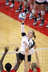 06 SEP 2008: Adrienne Leone on the attack in a match between the Redbirds of Illinois State university and the Golden Grizzlies of Oakland.  The Redbird Classic is held on Doug Collins Court in Redbird Arena located on the campus of Illinois State University in Normal IL.