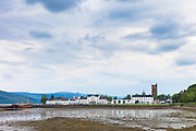 Inveraray with the Argyll Hotel in Mid Argyll at low tide in the Loch Fine estuary, in the Argyll and Bute region of Scotland