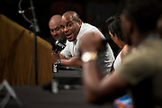 DALLAS, TX - MAY 12:  Daniel Cormier speaks to Jon Jones during the UFC Summer Kickoff Press Conference at the American Airlines Center on May 12, 2017 in Dallas, Texas. (Photo by Cooper Neill/Zuffa LLC/Zuffa LLC via Getty Images) ***Local Caption***  Daniel Cormier