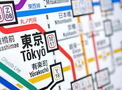 Detail of subway map in Tokyo Japan