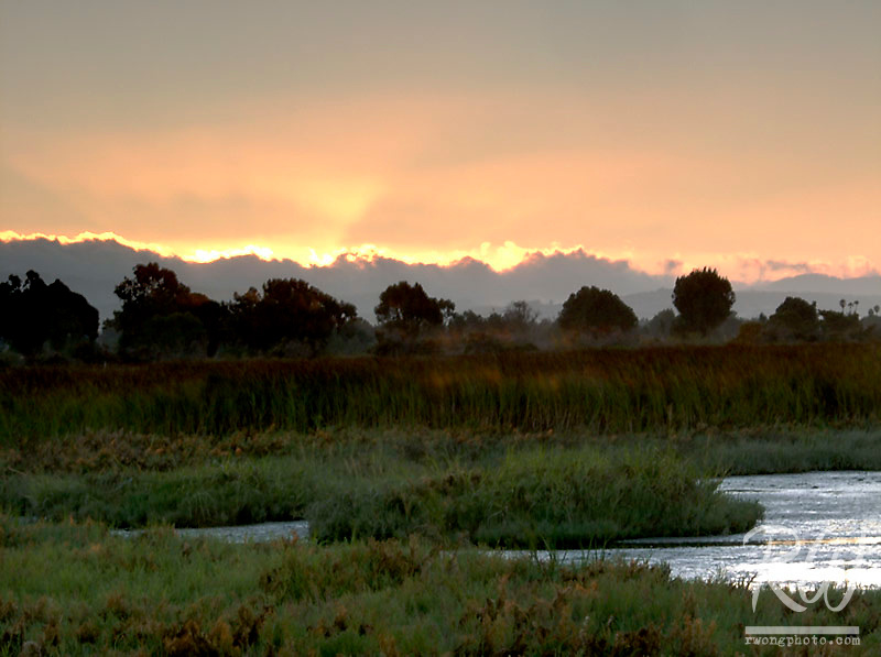 Sunset over Palo Alto Baylands Preserve, California
