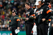 Cincinnati Bengals Head Coach Zak Taylor during the International Series match between Los Angeles Rams and Cincinnati Bengals at Wembley Stadium, London, England on 27 October 2019.