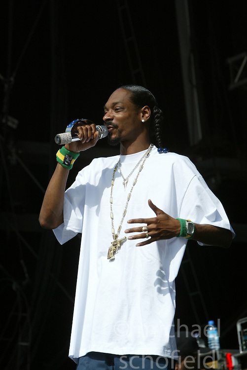 Snoop Dog on the main stage at T in the Park, 10th July 2005..©Michael Schofield..